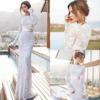 Vestido De Novia 2019 Modest Full Lace Abiti da sposa con maniche lunghe Bateau scollo Piano Lunghezza Abiti da sposa Custom Made