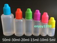 E vloeibare flessen PE e-sap vloeibare naaldpunten Plastic druppelfles 5 ml 10 ml 15 ml 20 ml 30 ml 50 ml Kinderdekens Lege rookolieflessen
