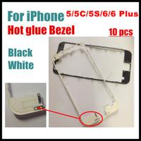100 pezzi per iPhone 5s 5c 5G 6 4.7 6 Plus 5,5 pollici Cornice frontale con colla a caldo Cornice centrale Nero bianco