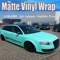 Premium Tiffany Blue Matte Vinile Wrap Mint opaco Vinile Car Wrapping con adesivi a bolle d'aria libera 1.52x30m / Roll 5x98ft