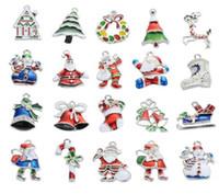 Новый Рождество Оптовая много 20PcsXSilver-тон микс уникальный эмаль рождественские подвески подвески EKmix1 ювелирные изделия делая выводы DIY