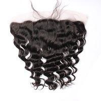 느슨한 웨이브 귀 귀 레이스 Frontals 표백 된 매듭 9A 브라질 느슨한 곱슬 인간의 머리카락 레이스 정면 흑인 여성을 위해