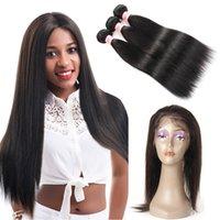 Frontal de 360 cordones con paquetes Ondas del cuerpo humano del cabello humano de la Virgen de Malasia / Extensiones de cabello lacio 3 paquetes con cierre frontal