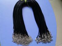 100шт черного 1.5mm Кожа PU ювелирных изделия веревочки ожерелье омара Застежка шнур для DIY Craft кулона ожерелье ювелирных изделий 20 «» 22 «» 24 «» с 2 «»