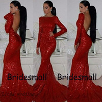 Envío gratis Sparkly Prom vestidos Nueva llegada Backless Mermaid Sheath Fitted Red Lequin Dress Vestidos formales de cuello alto