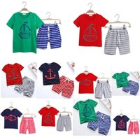 8 colors Baby Clothes Boys Cartoon Striped Casual Suits 2pcs...