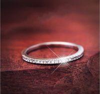 Pave gioielli impostazione Luxury Vintage Soild Argento 925 Topaz diamante della CZ Fedi anello di fidanzamento per la Women Size 5-9 Mai Fade