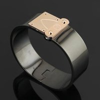 316L Titanium steel black bangle with gold and rose gold and...