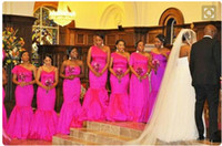 One SHoulder Afric Fushia Bridesmaid DRESSES Satin Mermaid C...