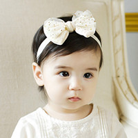 New Infant Girls Hairband Garza Cotton Hair Bow Flower Headbands Accessori per capelli per bambini Toddler Newborn Elastic Headband Pink Beige