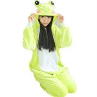 Унисекс мужчины женщины леди Одежда для взрослых пижамы косплей костюм животных Onesie пижамы мультфильм животных косплей милые лягушки комбинезон / Комбинезон