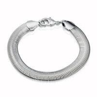 5PCS / Lot Envío gratuito de fábrica de la joyería Oferta 925 Pulsera de plata esterlina Pulsera de cadena plana de serpiente 10 mm 8 pulgadas