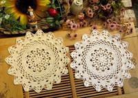 Gros- 30CM HOT tissu dentelle pad napperon de table en coton crocheté verre porte-tasse pot tasse napperon napperons ronds salle à manger cuisine