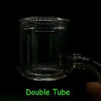 Ultimo design al quarzo termico P Banger 10mm 14mm 18mm 45 90 doppio tubo di quarzo termico Banger Nail per tubi di acqua di vetro bong di vetro