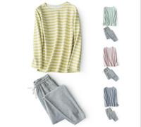 Una tira de rayas de moda deportiva de algodón suéter traje de servicio a domicilio puede usar pijamas sin imprimir