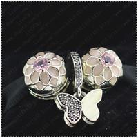 2016 nuova primavera S925 Charms in argento sterling e perle in vetro di Murano sciolti Set adatto a gioielli europei Charm Bracciali-Fiori farfalle Set