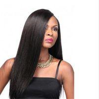 Yan Kısmı İtalyan Yaki Düz Afrika Amerikan Tam Dantel İnsan Saç Peruk Tutkalsız Moğol Sapıkça Düz Dantel Ön Peruk Bebek Saç Ile