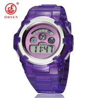 OHSEN 소년 소녀 어린이 키즈 7 색 LED 백라이트 디지털 다기능 군사 스포츠 시계 젤리 실리콘 밴드 손목 시계