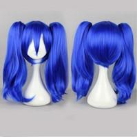 At Kuyruğu Kadın Lolita Parti Peruk% 100 Yepyeni Yüksek Kalite Moda Resmi wigsKagerou Projesi Cosplay Mavi Uzun 2 Klip