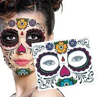 1 ADET Su Geçirmez Sahte Geçici Dövmeler Sticker Kafatası Yüz Maskesi Dövme Kadınlar için Uzun Ömürlü Kaldırmak Kolay 3 Renkler