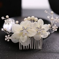 European style flowers crystal bridal handmade hair combs je...