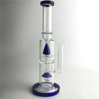 New 14. 5 Inch 18mm Glass Bongs Water Pipes with Blue Light R...