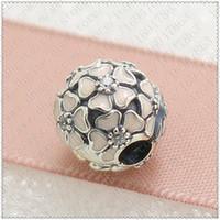 2016 Nova Primavera S925 Sterling Silver Flores Poética Clipe Charme Bead com Esmalte Rosa e Cubic Zirconia Serve Para Pulseiras Jóias Europeus