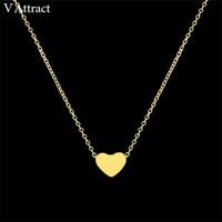 V Attract Frauen Schmuck Edelstahl Kette Halskette Gold Farbe zierliche kleine herzförmige Halsketten Anhänger Weihnachtsgeschenk