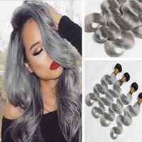 Heißer Verkauf # 1B Grau Ombre Wellenförmiges Menschenhaar Bundles 9A Brasilianisches Silber Grau Ombre Körperwelle Haarwebart Schussverlängerungen 4 Teilelos