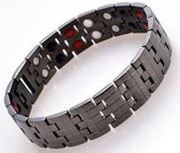 2015 modeschmuck reinem titan gesundheitswesen magnetfeldtherapie armband schwarz überzogene männer gesundheit energie armband 4 in 1 bio