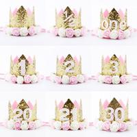 Hot New Birthday Sparkly Party Couronne Artificielle Rose et Crémeux Rose Fleurs Diadème Bandeau De Fête D'anniversaire Couronne Bandeau HJ151
