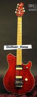 1991 Eddie Van Halen Wolf Music Man Ernie Axis أحمر لهب القيقب الأعلى الغيتار الكهربائي القيقب الرقبة الغطاء الخلفي في المخزون