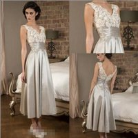 Sexy V Neckline Lace Mother of The Bride Dresses Elegant Tea...