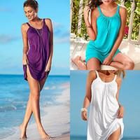 Toptan-Vestidos Yaz Kadın Elbise Beyaz Siyah Rahat Parti Elbiseler Kolsuz Gevşek Plaj Elbise Artı Boyutu Robe Ete 2016