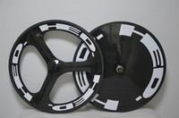 HED 3 스포크 및 디스크 폐쇄 Wheelset 도로 허브 전체 탄소 도로 자전거 바퀴 탄소 섬유 바퀴