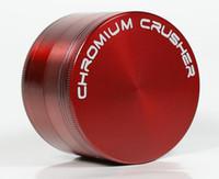 Dhl-freies CHROMIUM CRUSHER logo 40mm 4 teile zicn legierung grinder für tabak rauchen kräuter rauchmühlen großhandel
