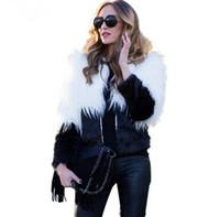 2016100928 세련된 따뜻한 가짜 모피 코트 여성 솜털 긴 소매 여성용 겉옷 검은 가을 겨울 짧은 재킷 코트 털이 오버 코트