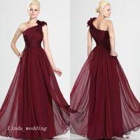 Бургундия вина красное вечернее платье одно плечо длинное платье подружки невесты горничные честь платье Prom Party Pread