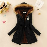 Parkas Mulheres Casacos Moda Outono Warm Winter Jackets Mulheres Fur Collar Long Parka Plus Size Hoodies Casual Cotton Outwear Hot