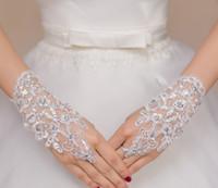 À propos de poignet longueur sans doigts courts gants de mariée strass paillettes dentelle gant de banquet de fête formelle pour Wemen