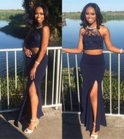 2016 New Navy Blue Two Pieces Prom Dresses Lace Black Girl D...