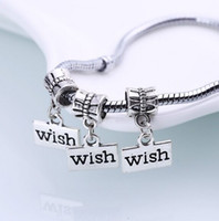 100Pcs Tibetan Silver Wish Charms Big Hole Dangle Beads Fit ...