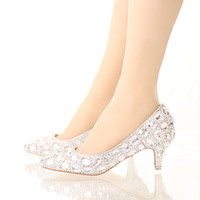 Bride Crystal Shoes Rhinestone Wedding Shoes Silver High Hee...