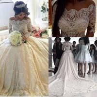 Роскошные с длинным рукавом свадебные платья Бато шеи с бисером стразы собор поезд покрыты кнопки арабский Vestido де Novia свадебные платья