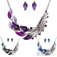 conjuntos de joyas retro al por mayor de la hoja tibetana cristalino del pavo real del collar del Rhinestone de los pendientes de gota corto para mujeres