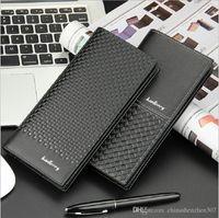 Baellerry Purse Mode Portefeuille Homme Mâle Noir Embrayage PU Portefeuilles En Cuir Style Business Design Long Tissage Motif Bourse Homme