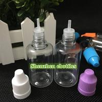 Hızlı çocukların açamayacağı Caps ve Uzun İnce İğne İpuçları ile Eliquid Boş Şişe PET Plastik Damlalık şişeler 30ml şişeler PET şişeler nakliye