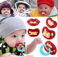 Funny Silicone Baby Pacificateurs Tetaher Dummum Novelty Dents Dents Moustache Vampire Mamelon Mamelon Vampire Dents Enfants Nipple 300pcs OOA2565