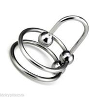 Ultimate Double Head Ring with Stopper Male Chastity Device Bondage di qualità # R2