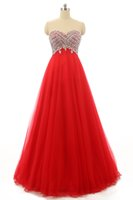 Perline Prom Abito lungo in tulle di cristallo con scollo a cuore 2016 Lunghezza pavimento Prom Gowns Lace Up